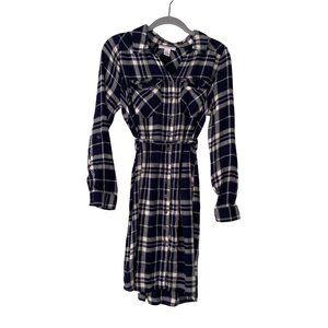Motherhood Maternity Plaid Button Down Dress Tie Belt Size Medium 100% Rayon